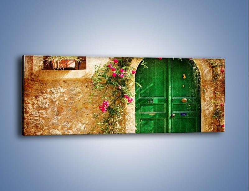 Obraz na płótnie – Drzwi w greckim domu vintage – jednoczęściowy panoramiczny AM192