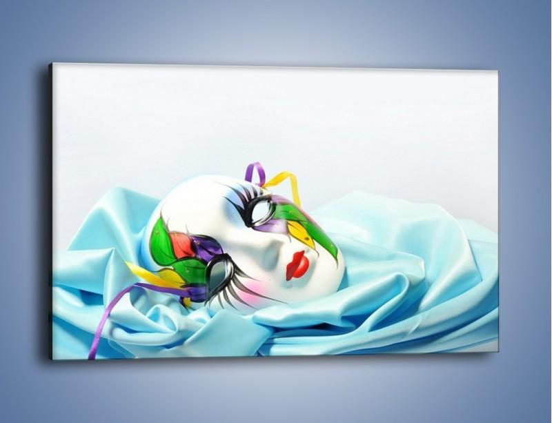 Obraz na płótnie – Kolorowa maska na błękicie – jednoczęściowy prostokątny poziomy O180