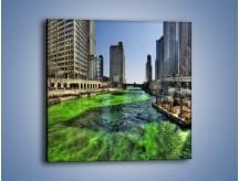 Obraz na płótnie – Chicago River w Dzień św. Patryka – jednoczęściowy kwadratowy AM605