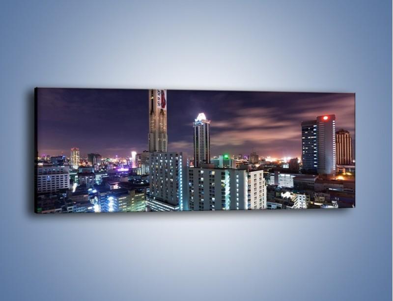 Obraz na płótnie – Duże miasto nocą – jednoczęściowy panoramiczny AM202