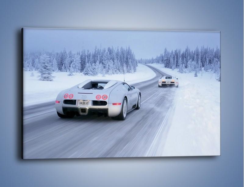 Obraz na płótnie – Bugatti Veyron w śniegu – jednoczęściowy prostokątny poziomy TM134