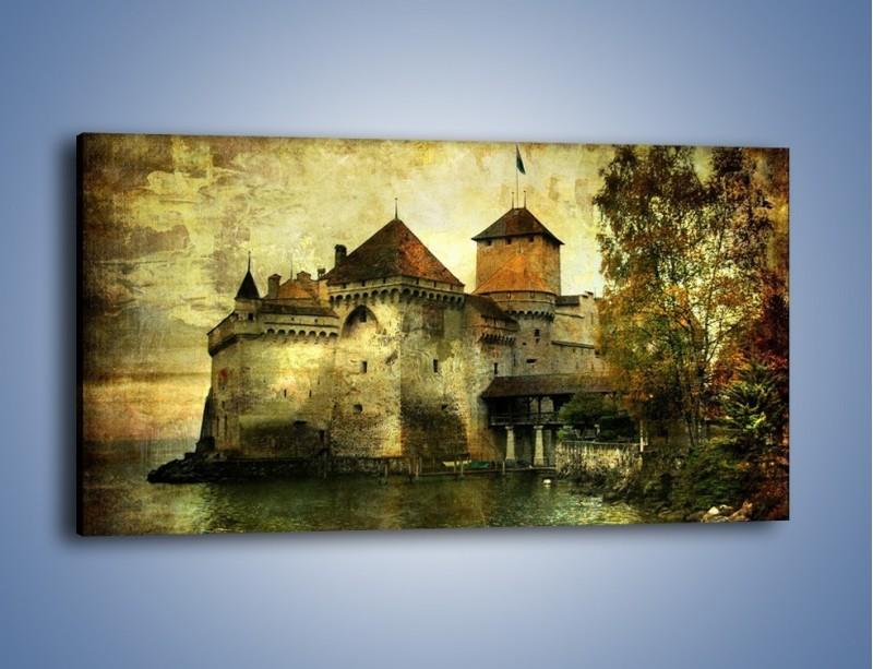 Obraz na płótnie – Średniowieczny zamek w stylu vintage – jednoczęściowy panoramiczny AM233
