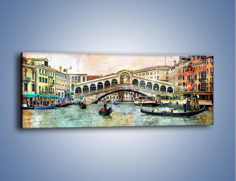 Obraz na płótnie – Wenecja w stylu vintage – jednoczęściowy panoramiczny AM239