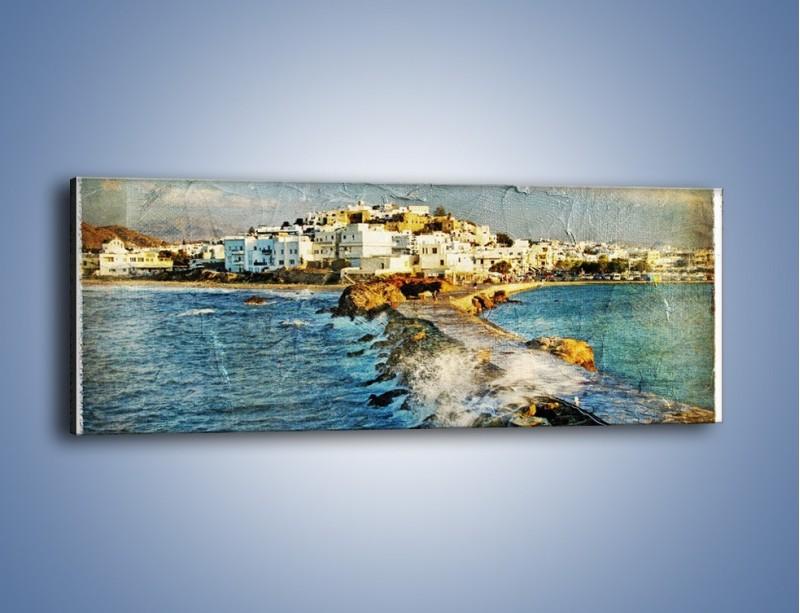 Obraz na płótnie – Grecka dróżka przez wodę vintage – jednoczęściowy panoramiczny AM268