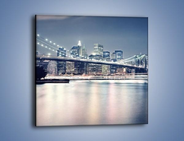 Obraz na płótnie – Most Brookliński w jasnych kolorach – jednoczęściowy kwadratowy AM627