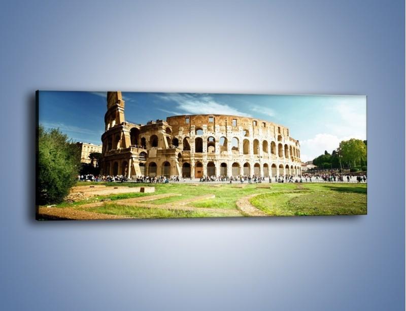 Obraz na płótnie – Koloseum w piękny dzień – jednoczęściowy panoramiczny AM273