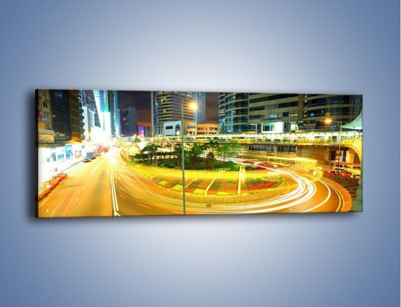 Obraz na płótnie – Światła samochodów w ruchu – jednoczęściowy panoramiczny AM280
