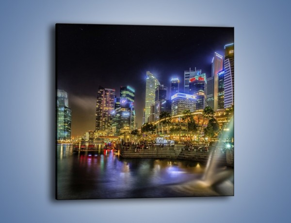 Obraz na płótnie – Nocne światła Singapuru – jednoczęściowy kwadratowy AM630
