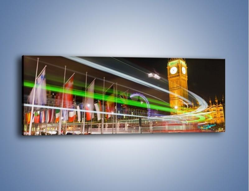 Obraz na płótnie – Światła samochodów na tle Big Bena – jednoczęściowy panoramiczny AM283