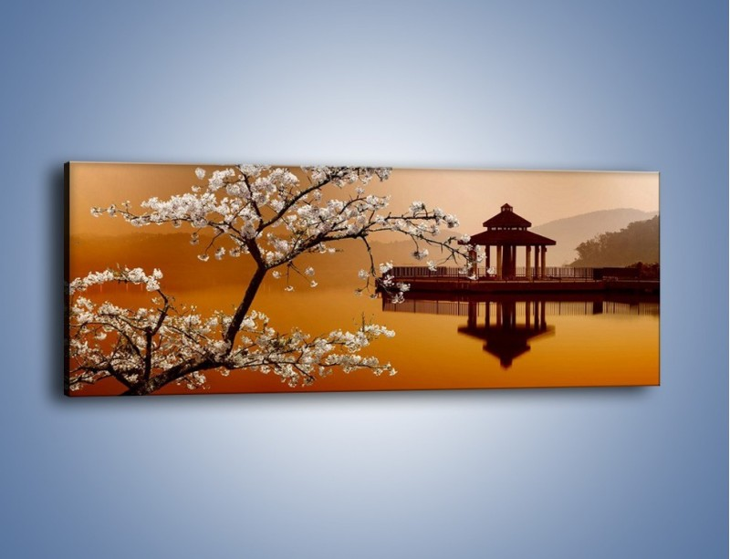 Obraz na płótnie – Kwiaty na tle Sun Moon Lake – jednoczęściowy panoramiczny AM301