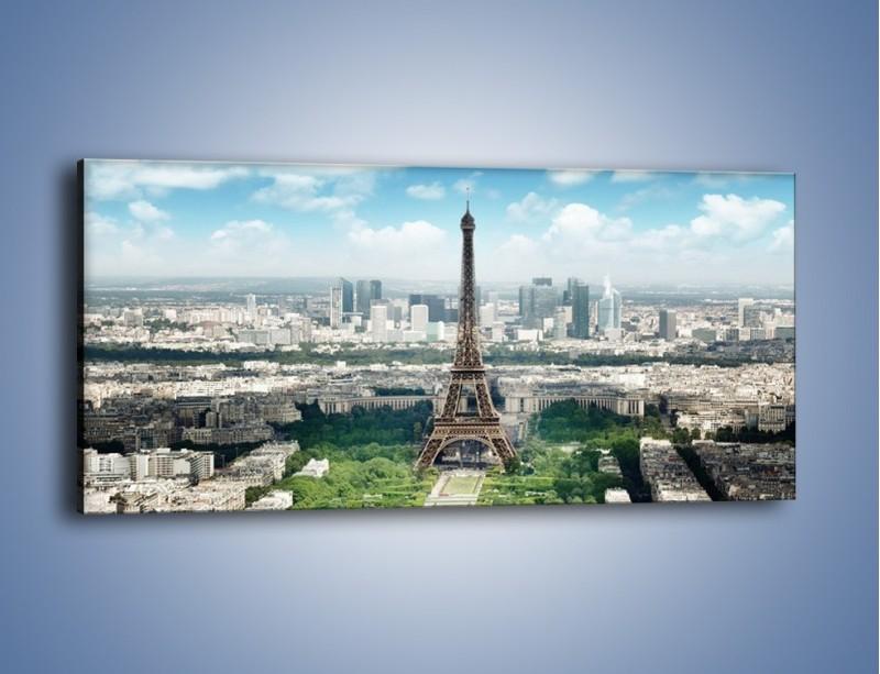 Obraz na płótnie – Chmury nad Wieżą Eiffla – jednoczęściowy panoramiczny AM302