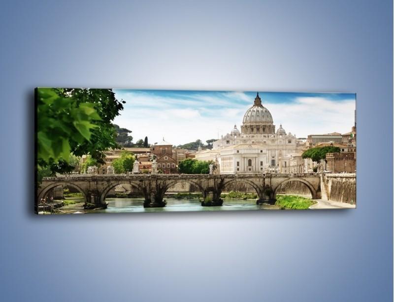 Obraz na płótnie – Rzeka Tyber na tle bazyliki – jednoczęściowy panoramiczny AM303