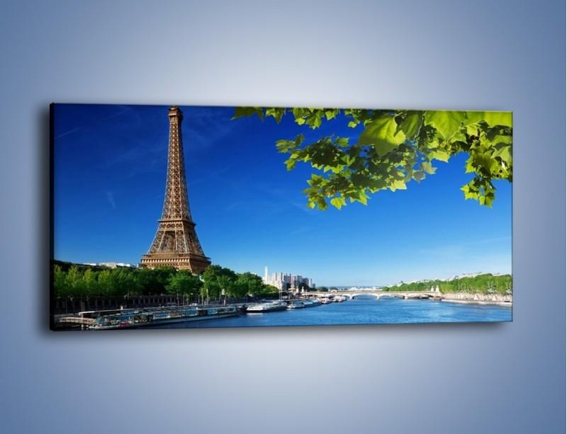 Obraz na płótnie – Wieża Eiffla w piękny dzień – jednoczęściowy panoramiczny AM304