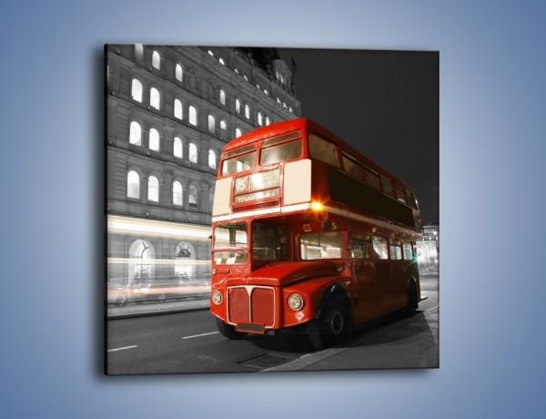Obraz na płótnie – Czerwony autobus w Londynie – jednoczęściowy kwadratowy AM634