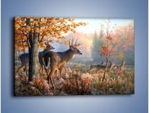 Obraz na płótnie – Randka jeleni z sarnami – jednoczęściowy prostokątny poziomy Z343