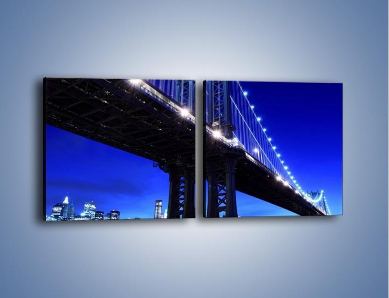 Obraz na płótnie – Oświetlony most wieczorem – dwuczęściowy kwadratowy poziomy AM003