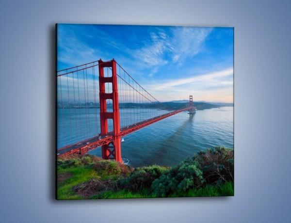 Obraz na płótnie – Most Golden Gate wczesnym rankiem – jednoczęściowy kwadratowy AM636