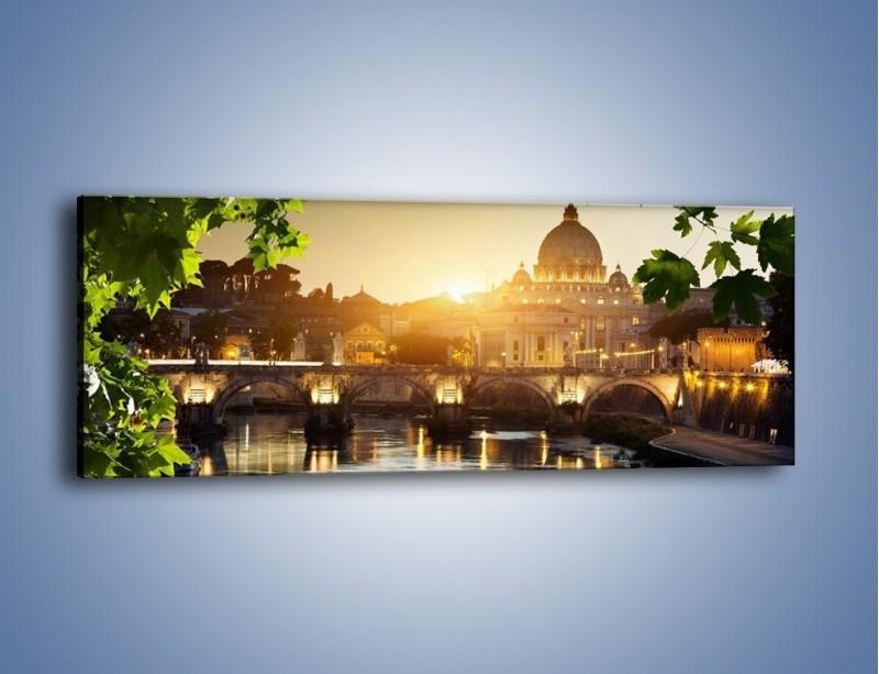 Obraz na płótnie – Bazylika w Rzymie o zachodzie słońca – jednoczęściowy panoramiczny AM306