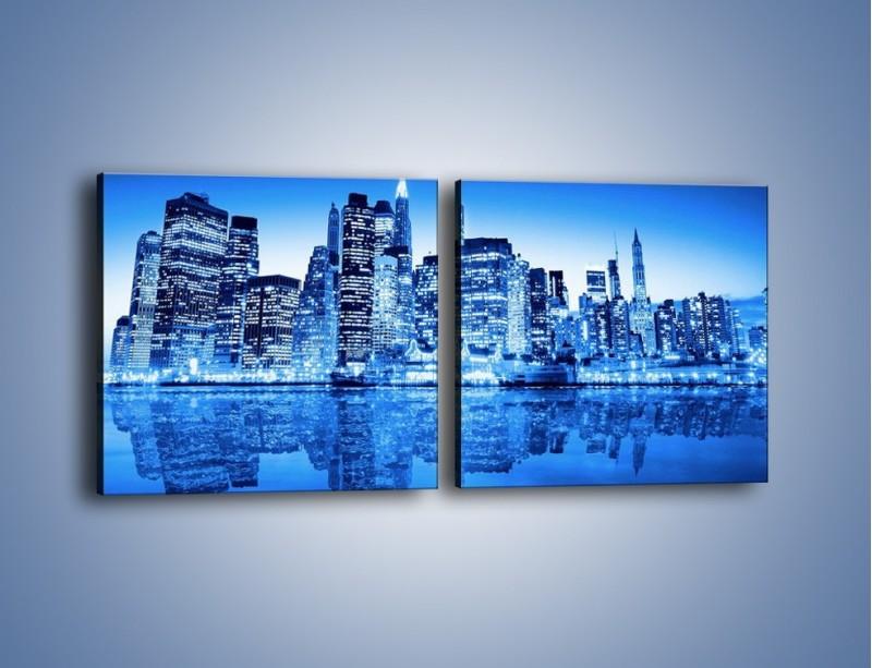 Obraz na płótnie – Odbicie miasta w tafli wody – dwuczęściowy kwadratowy poziomy AM004