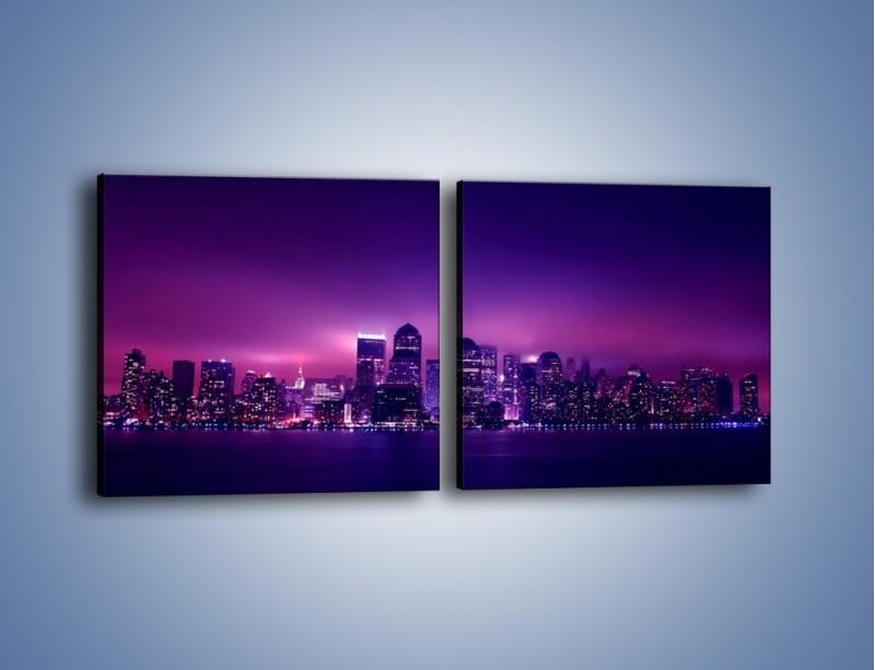 Obraz na płótnie – Wieżowce w odcieniach fioletu – dwuczęściowy kwadratowy poziomy AM008
