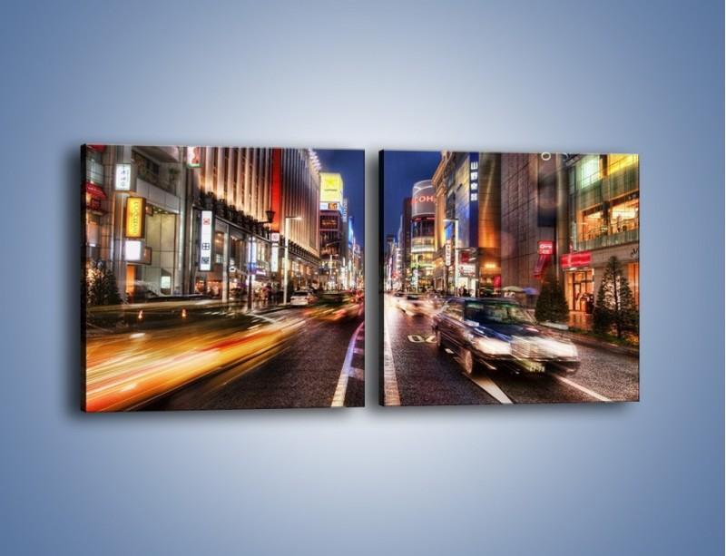 Obraz na płótnie – Tokyo w ruchu – dwuczęściowy kwadratowy poziomy AM015