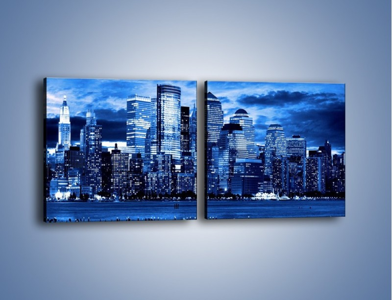 Obraz na płótnie – Wieżowce w odcieniach niebieskiego – dwuczęściowy kwadratowy poziomy AM017