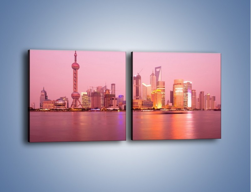 Obraz na płótnie – Miasto o poranku w odcieniach różu – dwuczęściowy kwadratowy poziomy AM020