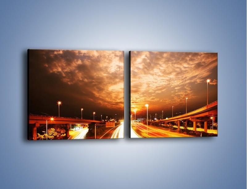 Obraz na płótnie – Oświetlona autostrada w ruchu – dwuczęściowy kwadratowy poziomy AM021