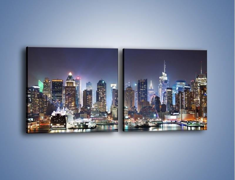 Obraz na płótnie – Oświetlone miasto nocą – dwuczęściowy kwadratowy poziomy AM034