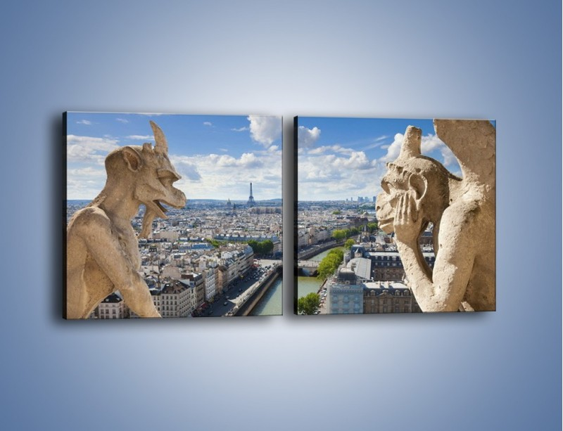 Obraz na płótnie – Kamienne gargulce nad Paryżem – dwuczęściowy kwadratowy poziomy AM037