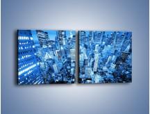Obraz na płótnie – Centrum miasta w niebieskich kolorach – dwuczęściowy kwadratowy poziomy AM042
