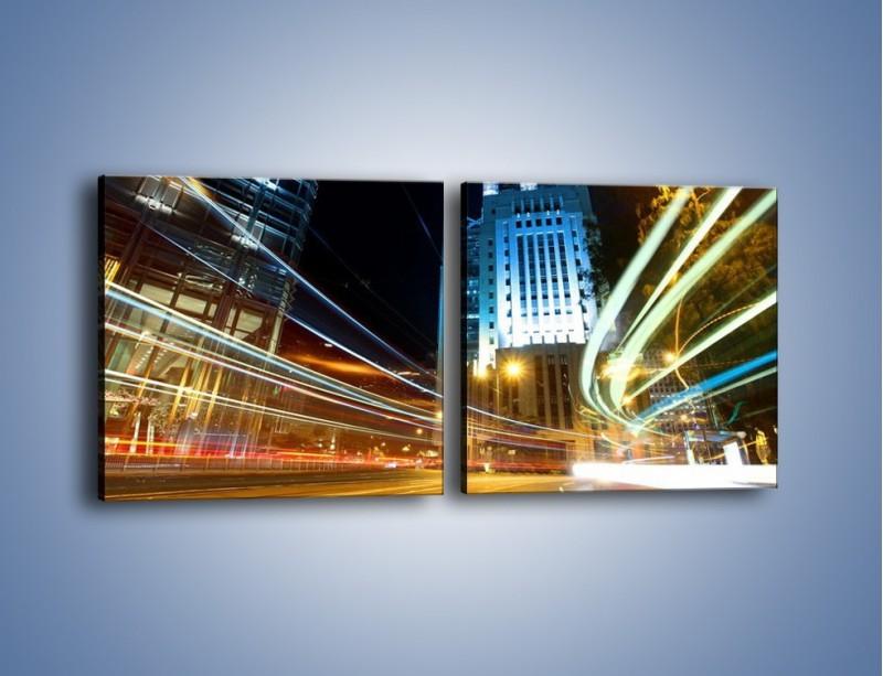 Obraz na płótnie – Światła w ruchu ulicznym – dwuczęściowy kwadratowy poziomy AM048