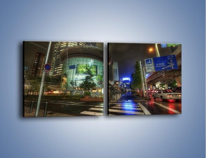Obraz na płótnie – Spokojne Tokyo nocą – dwuczęściowy kwadratowy poziomy AM056