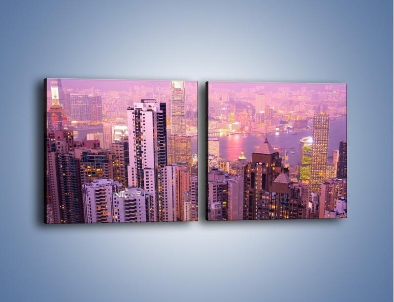 Obraz na płótnie – Duże miasto budzące się o poranku do życia – dwuczęściowy kwadratowy poziomy AM062