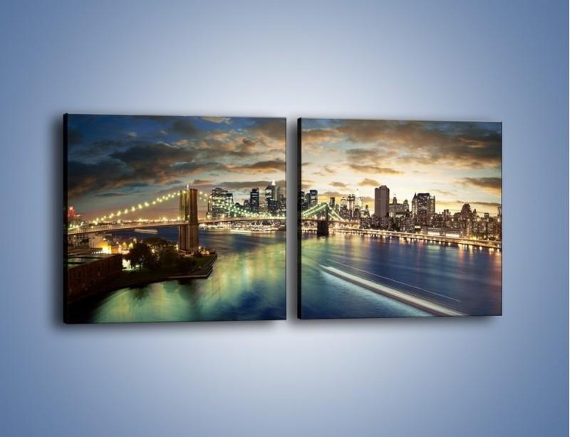 Obraz na płótnie – Oświetlony most w Nowym Jorku – dwuczęściowy kwadratowy poziomy AM066