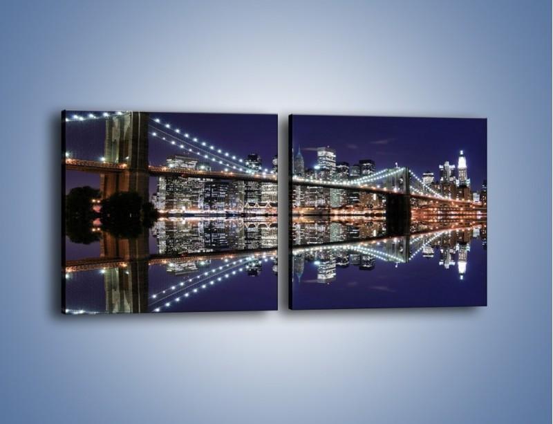 Obraz na płótnie – Most Brookliński w lustrzanym odbiciu wody – dwuczęściowy kwadratowy poziomy AM067