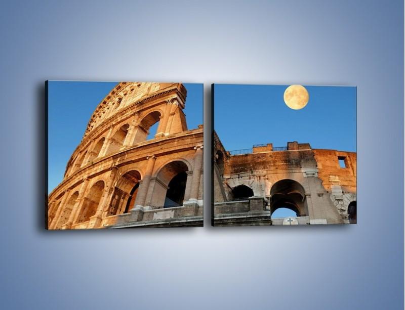 Obraz na płótnie – Pełnia księżyca nad Koloseum – dwuczęściowy kwadratowy poziomy AM069