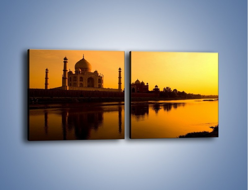 Obraz na płótnie – Taj Mahal o zachodzie słońca – dwuczęściowy kwadratowy poziomy AM075