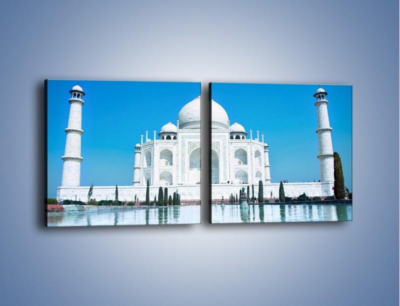 Obraz na płótnie – Taj Mahal pod błękitnym niebem – dwuczęściowy kwadratowy poziomy AM077