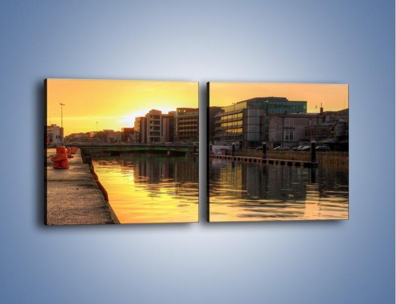 Obraz na płótnie – Kanał portowy o wschodzie słońca – dwuczęściowy kwadratowy poziomy AM079