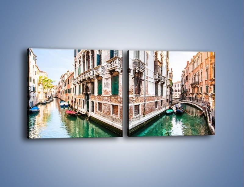 Obraz na płótnie – Skrzyżowanie wodne w Wenecji – dwuczęściowy kwadratowy poziomy AM081