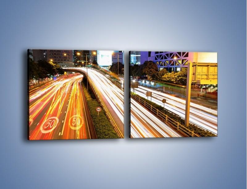 Obraz na płótnie – Ulice w ruchu w mieście – dwuczęściowy kwadratowy poziomy AM089