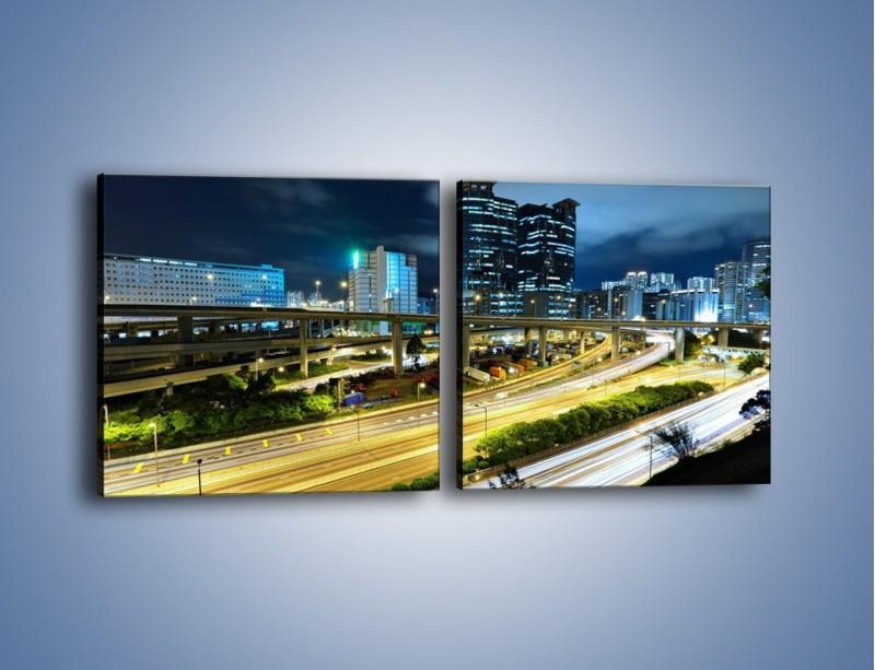 Obraz na płótnie – Przedmieście miasta wieczorem – dwuczęściowy kwadratowy poziomy AM091