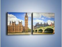 Obraz na płótnie – Big Ben w pochmurny dzień – dwuczęściowy kwadratowy poziomy AM095