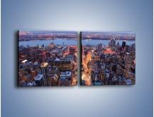 Obraz na płótnie – Budzące się ze snu miasto – dwuczęściowy kwadratowy poziomy AM097