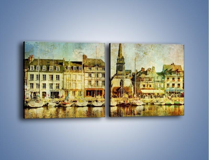 Obraz na płótnie – Łódki nad brzegiem miasteczka w stylu vintage – dwuczęściowy kwadratowy poziomy AM108