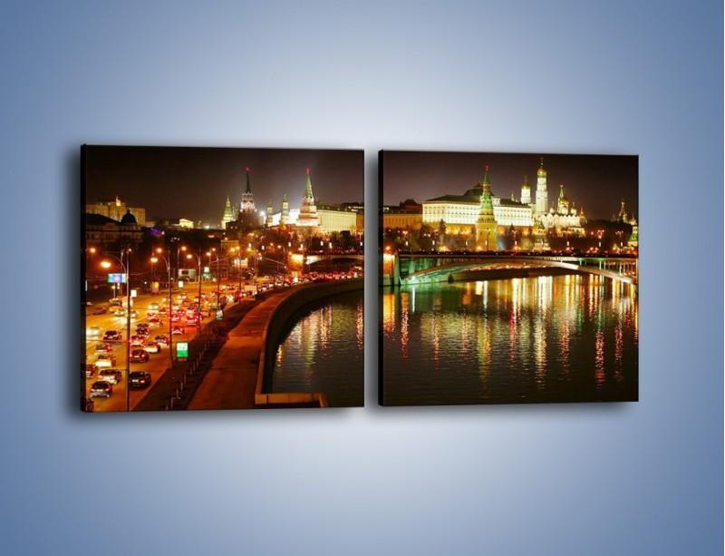 Obraz na płótnie – Moskwa nocą – dwuczęściowy kwadratowy poziomy AM118