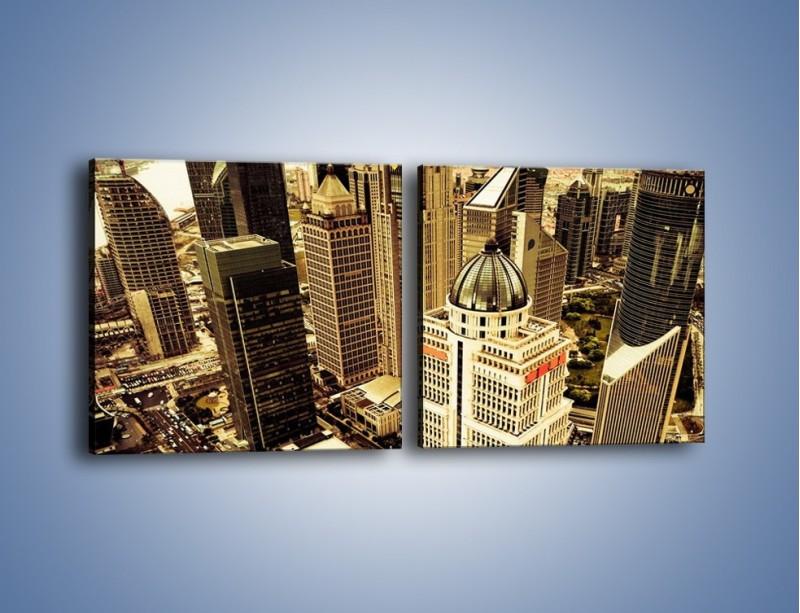 Obraz na płótnie – Drapacze chmur w centrum miasta – dwuczęściowy kwadratowy poziomy AM126