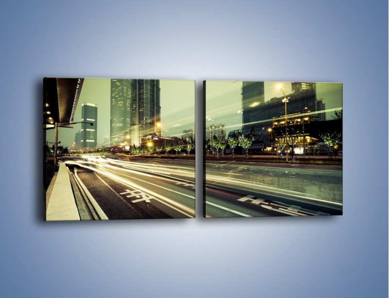 Obraz na płótnie – Uliczny ruch w świetle lamp w Tokyo – dwuczęściowy kwadratowy poziomy AM127