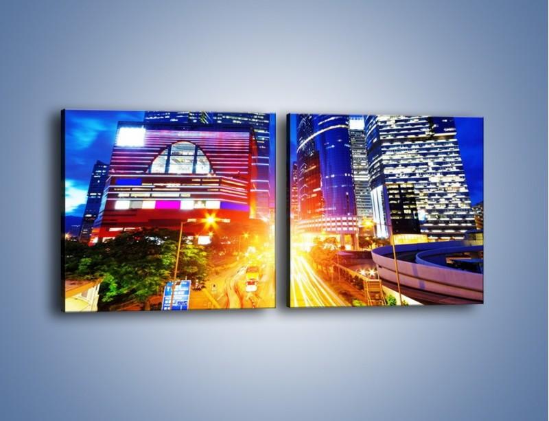 Obraz na płótnie – Miasto w żywych kolorach – dwuczęściowy kwadratowy poziomy AM131
